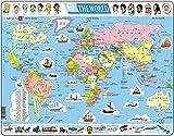 Larsen K1 El Mapa político Mundial, edición en Inglés, Puzzle de Marco con 107 Piezas