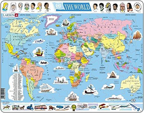 K1 El Mapa político Mundial, edición en Inglés, Puzzle de Marco con 107 Piezas