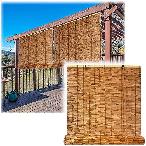 Bambusrollo, Schilf Vorhang, Rollo Bambus, Außen Rollo, Sonnenschutz Vorhang Balkon Dekoration, Einfache Montage, für Fenster und Türen in Natur