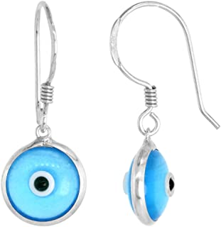 Sterling Silver Evil Eye Earrings 10 MM Glass Eyes Available in All Colors