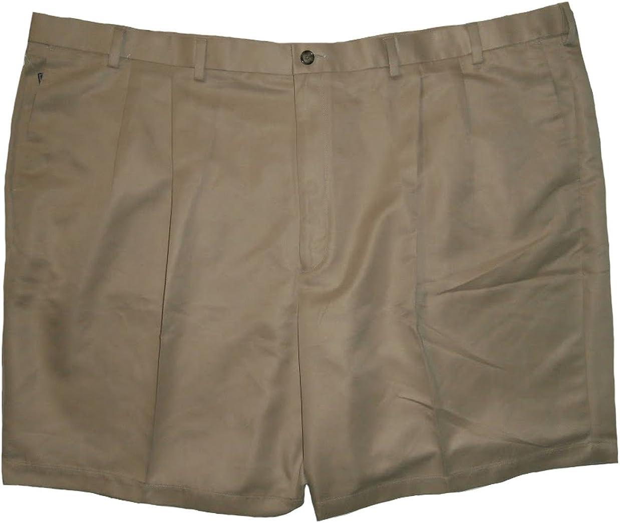 Roundtree & Yorke Mens Big & Tall Khaki Shorts Expander 400BT Polyester
