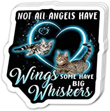 Uitee Store Cool Sticker (3 pcs/Pack, 3x4 inch) Not All Angels Have Wings Some Have Whiskers - Cute Cat Perfect for Water Bottle,Laptop,Phone, Extra Durable Vinyl Decal