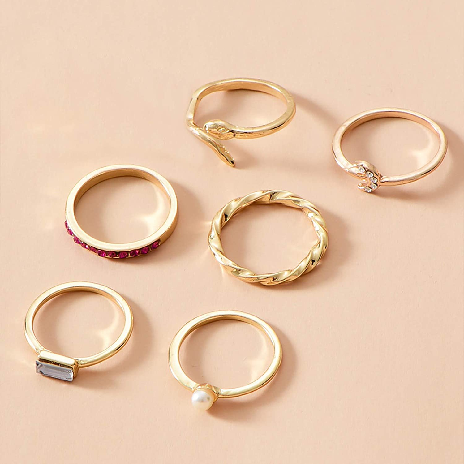 6 Pcs Gold Rings for Women Midi Knuckle Joint Rings Set Cold Wind European And American Geometric Stacking Stackable Rings Jewelry Gifts for Birtday Party Anniversary Holidays Graduation for Daughter Mom Friends Sisters Men Boys Boyfriends Dad