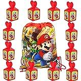 Super Mario Bolsas de Fiesta Cumpleaños Cajas para Chuches 13 Piezas Mario Mochilas con Cordón de Cumpleaños Regalo Cajas para Niños Adultos Navidad Bodas Fiesta Temáticas
