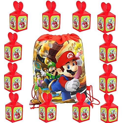 Super Mario Bolsas de Fiesta Cumpleaños Cajas para Chuches 13 Piezas Mario...