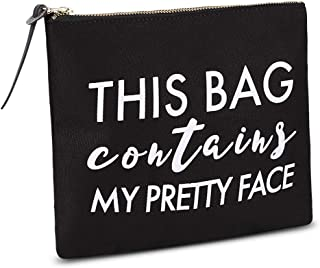 Woowland Quote Canvas Makeup Bag, Funny Toiletry Cosmetic Bag, Cute Birthday Gift for Girls Women Sisters Friends (This Bag Contains My Pretty Face, Black, 8 x 9.5 inch)