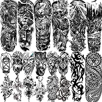 VANTATY 20 Sheets Extra Large Full Arm Temporary Tattoos For Men Adults Tiger Snake Leopard Lion King Temporary Tattoos Sleeve For Women Temp Waterproof Fake Tattoo Stickers For Kids Warrior Tatoos