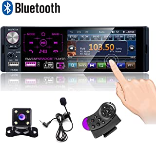 Camecho Single Din Bluetooth Car Radio 4'' Capacitive Touch Screen Car Stereo FM/AM/RDS Radio Receiver with Dual USB/AUX-i... photo