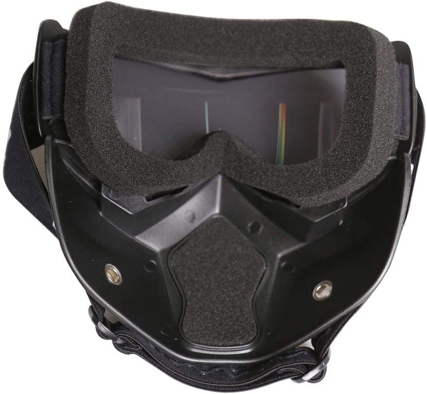Casco del motociclo Specchio Nero Frame Design Equitazione Casco Portable Anti Fog Off-Road Safety Cap Occhiali Maschera Casco con lente trasparente