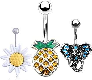 Beach Pineapple Navel Rings Belly Button Rings Belly Piercings 14G 316 Stainless Steel