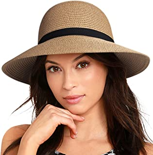 Sun Hats for Women Brim Straw Hat Beach Hat UPF UV Packable Cap for Travel