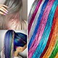 Xinxinshuyu Hair Tinsel Strands in Set Sparkling Shiny Hair Tinsel Extensions Colored Party Highlights Glitter Extensions Multi-Colors Hair Streak Bling Synthetic Hairpieces