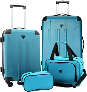 Traveler's Club Chicago Plus 4pc Expandable Luggage Set, Teal, Teal (Turquoise) - TCL-66994-EX-360