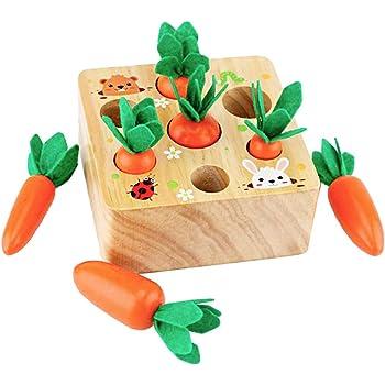 木玩社のニンジンボードゲーム 木製ニンジンおもちゃ 木製玩具 おままごと 空間認識 形状認識 色認識 子供レジャー玩具ギフト プレゼント