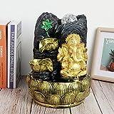 【𝐎𝐬𝐭𝐞𝐫𝐟ö𝐫𝐝𝐞𝐫𝐮𝐧𝐠𝐬𝐦𝐨𝐧𝐚𝐭】 Desktop Ganesha Elefant Statue Brunnen, fließendes Wasser Ornament Home Dekoration mit Licht Ball Dekor(EU-Stecker)