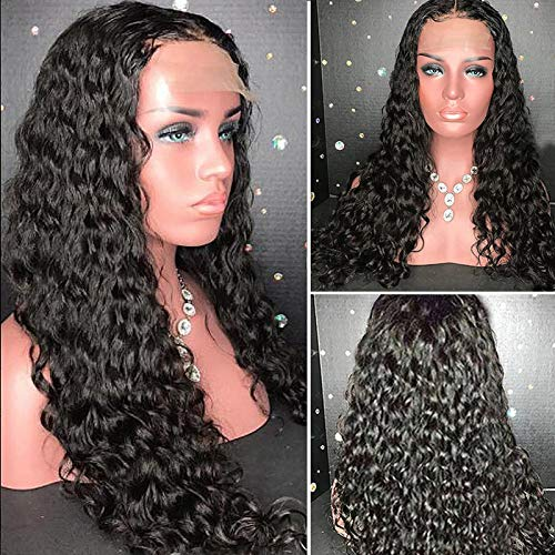 YMS Curly Wigs for Black Women Human Hair 150% Density Brazilian Human Hair Lace Front Wigs Pre Plucked with Baby Hair Unprocessed Real Hair Lace Wigs(16 inch,T Part Lace Front Wig)