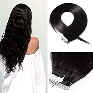 18 Inch 100g 40pcs Remy Human Hair Tape in Hair Extensions #1B Natural Black Hair Seamless Skin Weft Invisible with 10 Double Sided Tapes