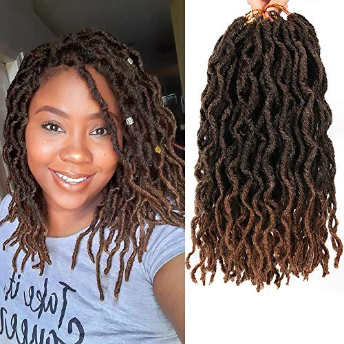 Faux Locs Crochet Braids 12 inch 6packs/Lot Bo Faux Locs Crochet Hair Curly Dreadlocks Synthetic Faux Locs Braiding Hair Extensions ( 20 Roots/Pack ) #T1B/30