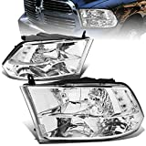 Replacement for Dodge Ram Pair of Chrome Housing Clear Corner Quad Headlight Lamp - 4th Gen DS/DJ/D2