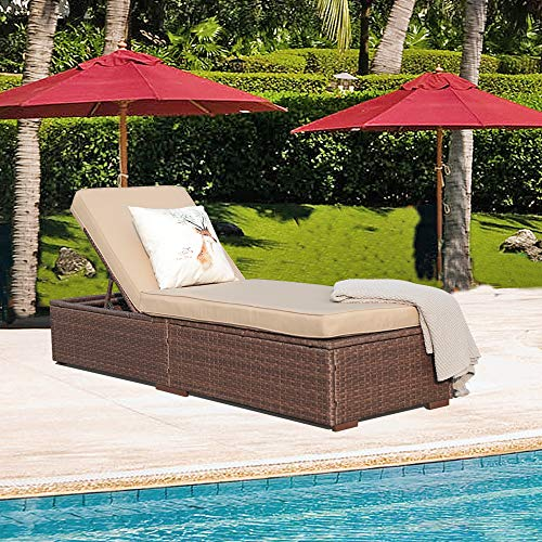 Patiorama Outdoor Patio Chaise Lounge Chair, Adjustable Pool Rattan Chaise Lounge Chair with...