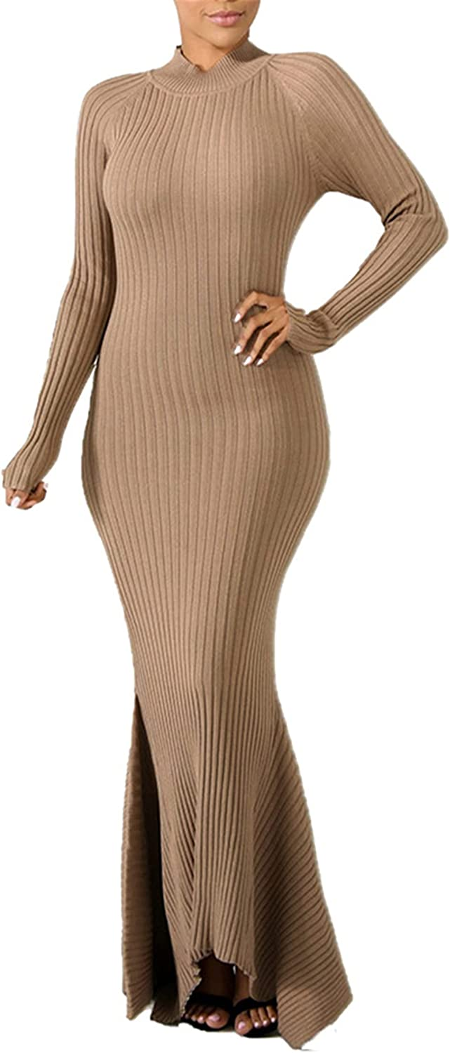 Women's Sexy Ribbed Midi Dress - Mermaid Bodycon Moc Solid Color 25% OFF High material