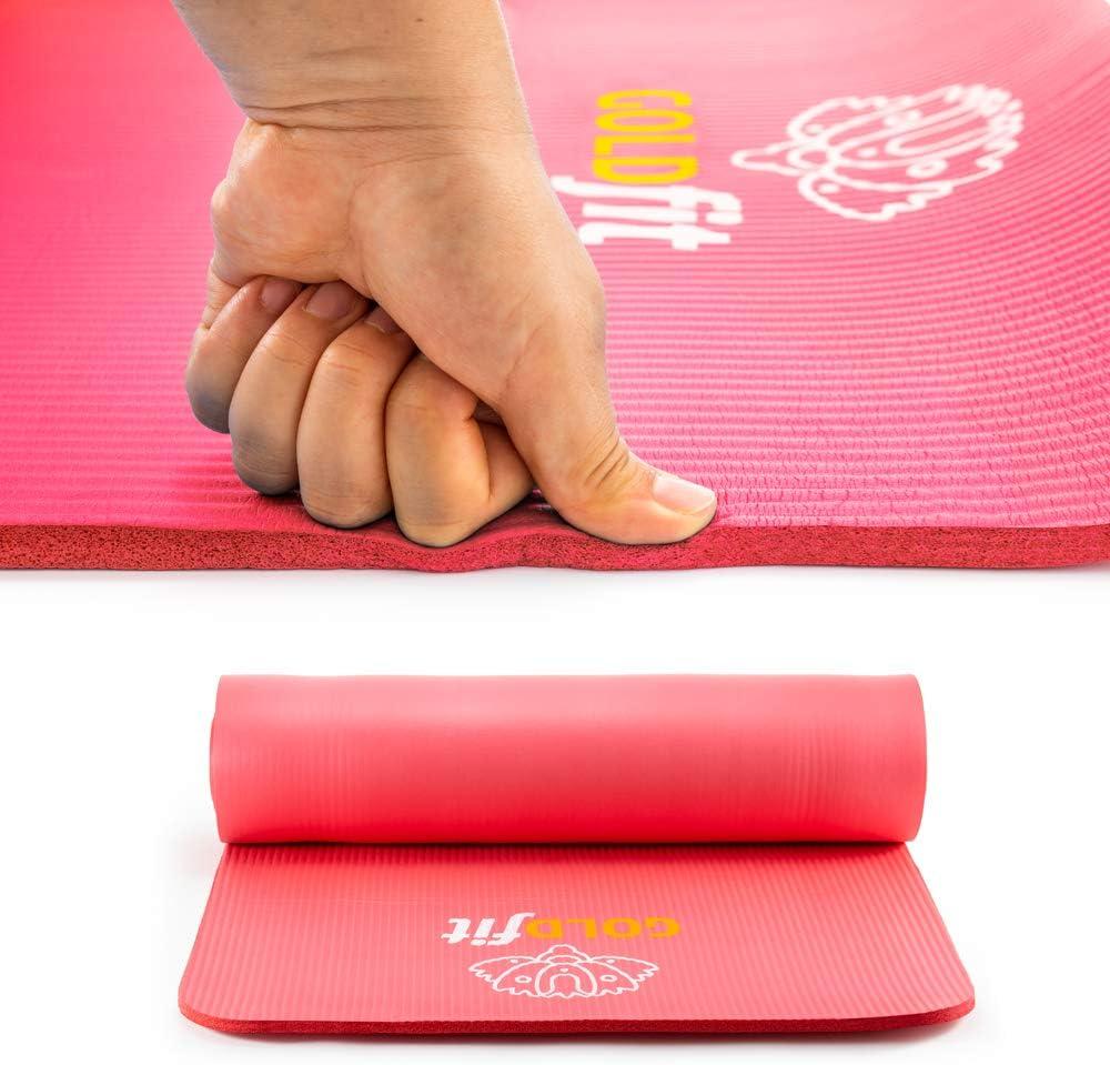 tappetino sportivo tappetino per esercizi spesso 10 mm cinghia e custodia porta tappeto Set di tappetino da yoga antiscivolo fitness e pilates con bottiglia GOLDFIT asciugamano in microfibra 180 x 60 cm