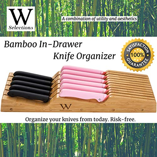 W Selections Bamboo Knife Drawer Organizer Block - Kitchen Storage Holder for Knives Organization - Saves Counter Drawer Space for Home Cooking Chef - Organic Moso Bamboo Tray of Premium Quality
