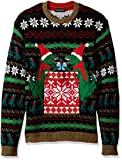 Blizzard Bay Men's Ugly Christmas Sweater Drink Pocket, Black/Green, Small