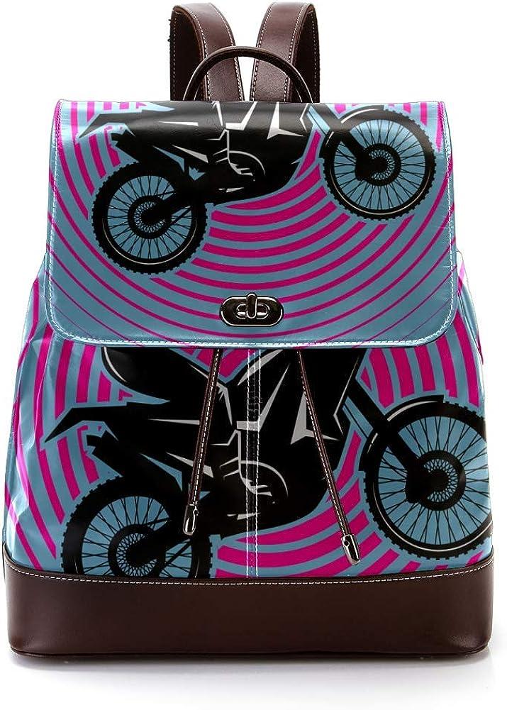 Motocycle Rider PU Leather Backpack Fashion Shoulder Bag Rucksack Travel Bag for Women Girls