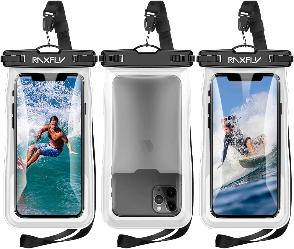 Floating Waterproof Phone Case - RAXFLY 3 Pack IPX8 Universal Waterproof Phone Bag Pouch Floating up to 8.8oz Dry Bag Case Compatible with iPhone Samsung up to 7 inch Devices Beach/Surfing Black