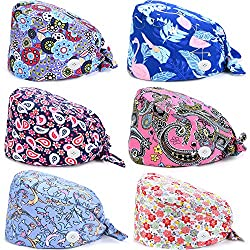 6 Pieces Adjustable Turban Caps with Button and Cotton Sweatband Bouffant Printed Covering Hat for Women Men