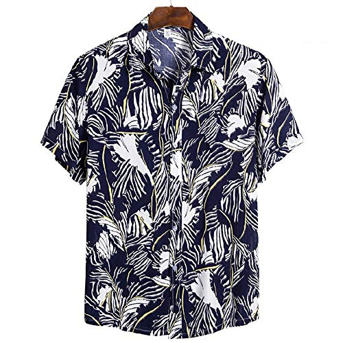 Hawaiian Beach Holiday Flower Shirt Series Camisa de Solapa de Manga Corta de algodón