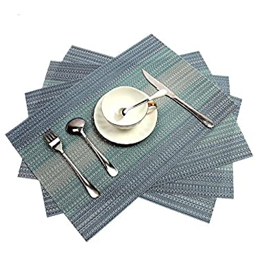 PAUWER Placemats Set of 4 Crossweave Woven Vinyl Placemat for Dining Table Heat Resistant Non-slip Kitchen Table Mats Easy to Clean