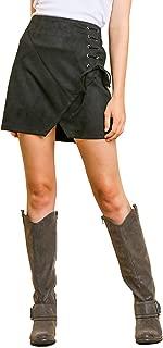 Women's High Waist Lace Up Faux Suede Mini Short Bodycon Slit Skirt