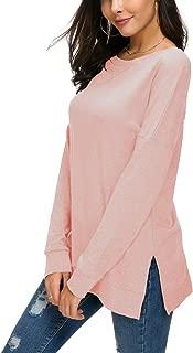 HIYIYEZI Women's Fall Long Sleeve Side Split Loose Casual Pullover Tunic Tops