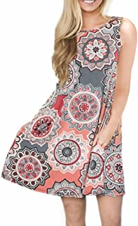 Womens Casual Sleeveless Dresses Knee Length Tunic Dress with Pockets
