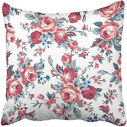 SSHELEY Dekokissen Hüllen Floral Shabby Chic Granny Vintage Chintz Roses in nahtlos gemusterten Kissenbezügen Kissenbezug