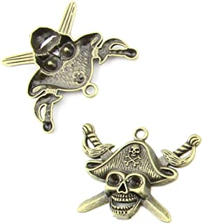 60 pieces Anti-Brass Fashion Jewelry Making Charms 1826 Skull Pirate Wholesale Supplies Pendant Craft DIY Vintage Alloys Necklace Bulk Supply Findings