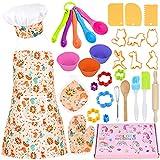 GOLDGE Accessori per la cucina per bambini, 32 pezzi, set da forno per bambini, giochi di ruolo con grembiule, cappelli da cucina