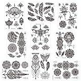 Konsait grande 9 fogli tatuaggio temporaneo nero per adulti donna impermeabile Tatuaggio Temporanei piuma lupo mandala fiore body art braccio tatuaggi per festa mano collo collo polso