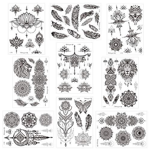 Konsait 9 Blätter groß Schwarz Temporäre Tätowierung Aufkleber Körperkunst Fake Arm Tattoos Sticker für männer Frauen Erwachsene Feder Mandala Blume Tattoos