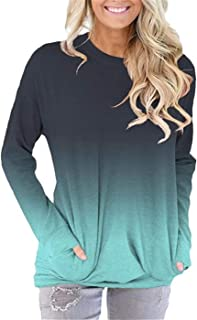 Pocket Shirts for Women Casual Loose Fit Tunic Top Baggy Comfy Blouse