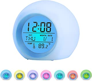 Alarm Clock for Kids, 7 Colors Changing, LED Digital, Round, Battery, Temperature Detect, One Tap Control, Alarm Setting, Snooze, 12/24 H, for Kids, Home, Office