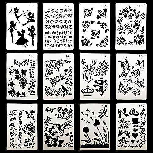 DEPEPE 12pcs Plastic Stencils for Journal Painting Craft 6.3 x 9.7 Inches