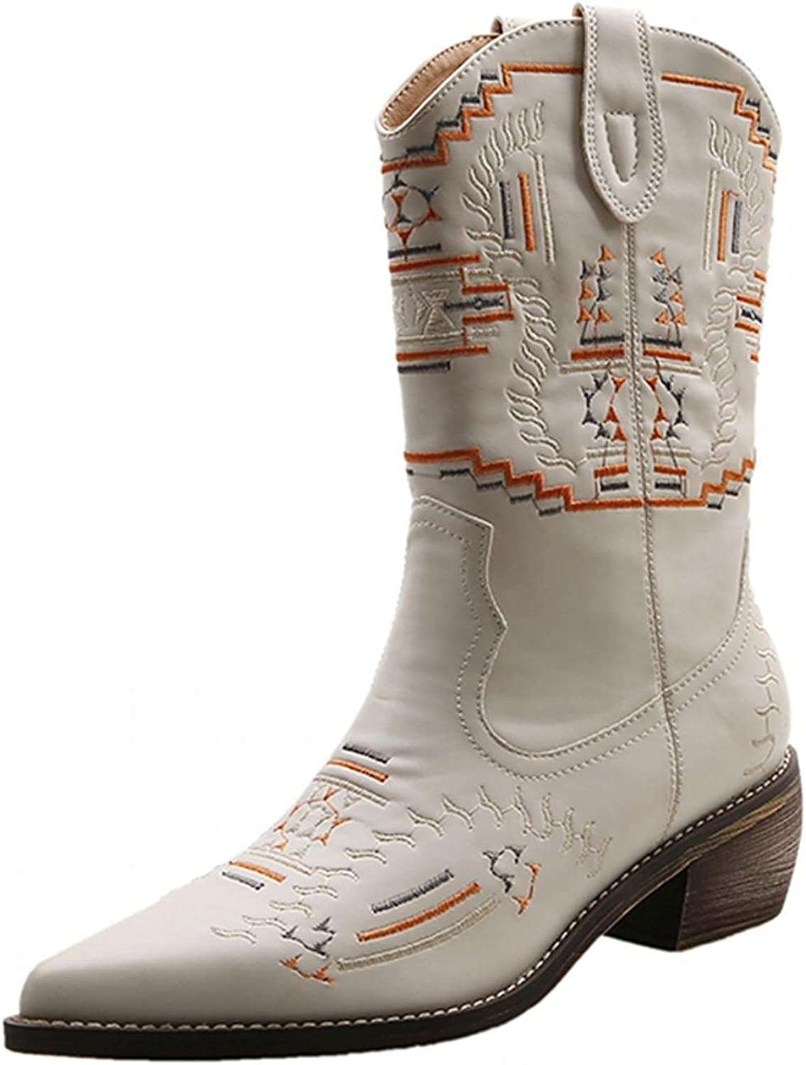 Niceast Boots for Women Point Toe Mid Calf Boots Retro Comfortab