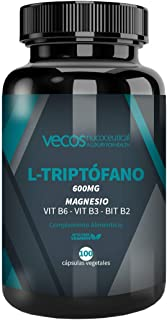 L-Triptófano con magnesio Vecos – Triptófano con vitaminas B2. B3 y B6 para regular el ciclo