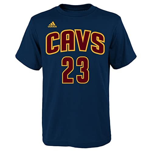 a31afd00d374 adidas Lebron James Cleveland Cavaliers Navy Youth Name and Number Jersey T- Shirt