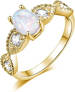 CiNily 18K Gold Plated Opal Ring- White Fire Opal & Amethyst & Cubic Zirconia Women Jewelry Gemstone Engagement Anniversar...