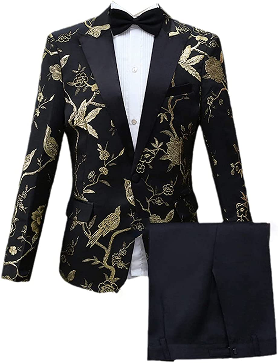 Men's Fashion Embroidery Royal Floral Pattern Suit Stage Singer Wedding Groom Tuxedo
