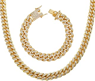 Men's 12MM 14MM Chains 18K Gold Plated CZ Fully Iced-Out Miami Cuban Necklace Bracelet Set